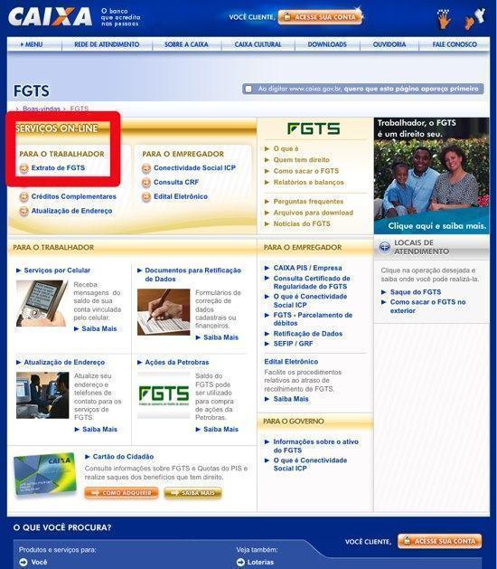 Consulta saldo e extrato do FGTS pela internet