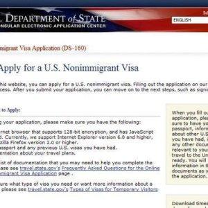 Formulário para visto dos Estados Unidos