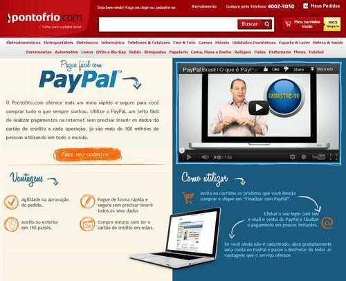 Pagar compras no PontoFrio com PayPal