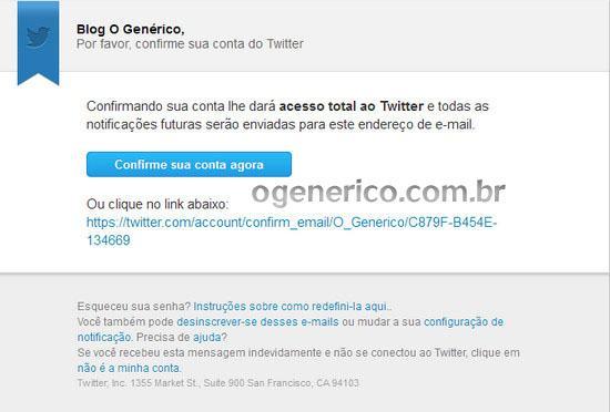 Confirmação do email para criar conta no Twitter