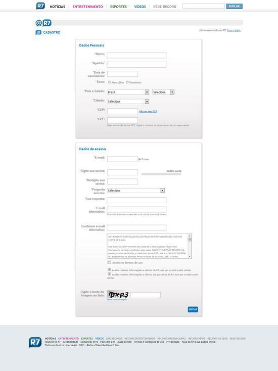 Como criar um email do Portal R7