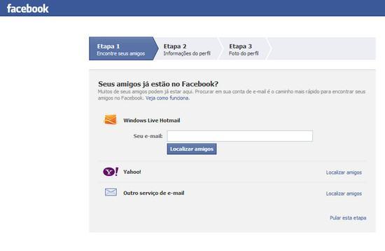 Como criar conta no Facebook 2