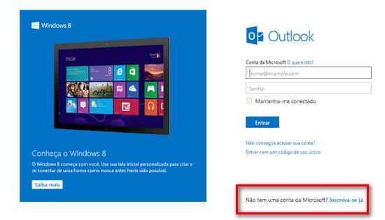 Como criar um email Outlook.com