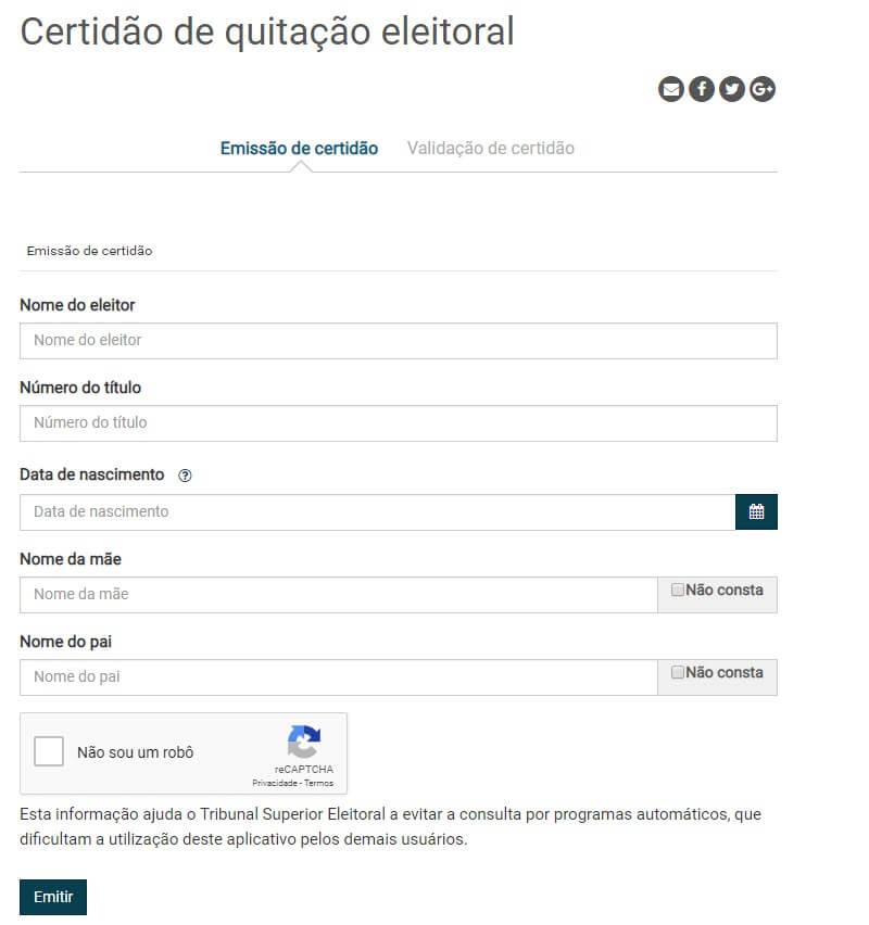 Tirar certidão de quitação eleitoral pela internet