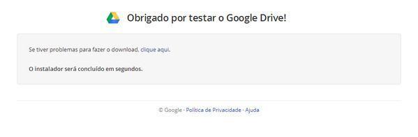 Baixar do instalador do Google Drive