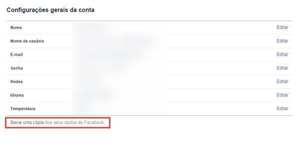 Como baixar os dados pessoais do Facebook