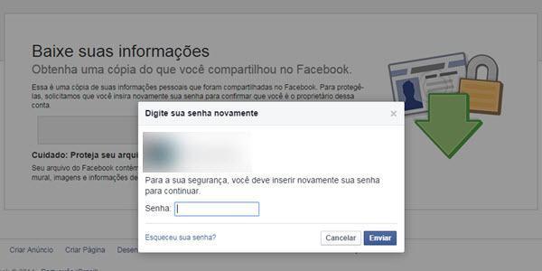 Baixar dados do Facebook