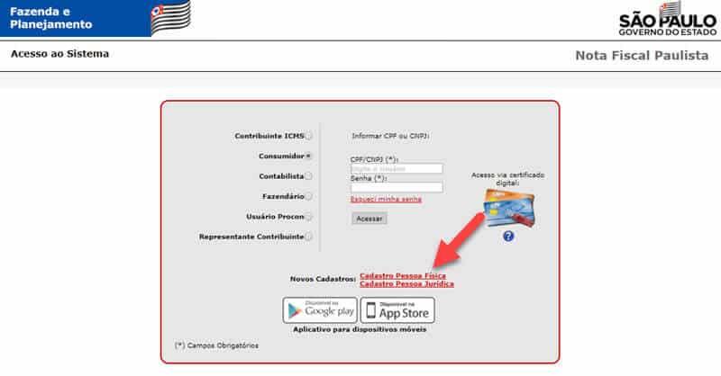 Cadastro no Nota Fiscal Paulista